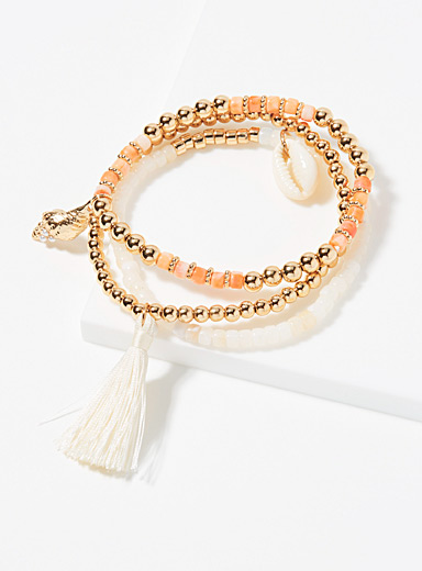Simons Assorted Tassel shell bracelets  Set of 3 for women