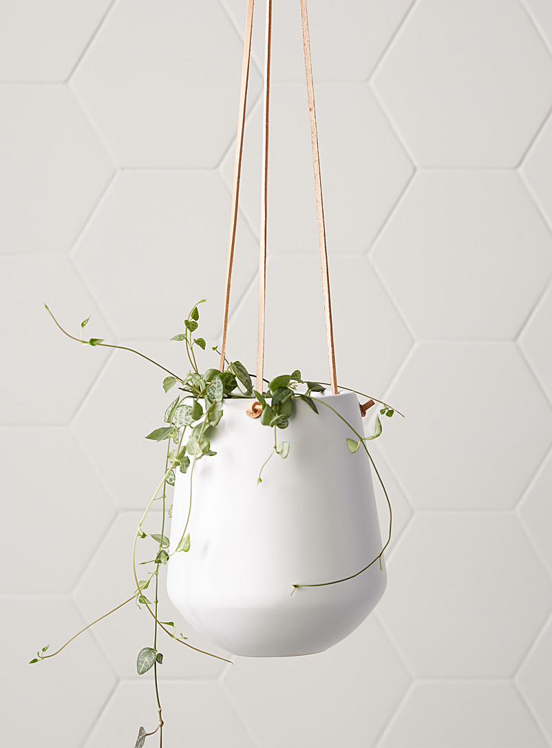 Ceramic and leather hanging planter