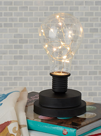 Matte black light bulb lantern