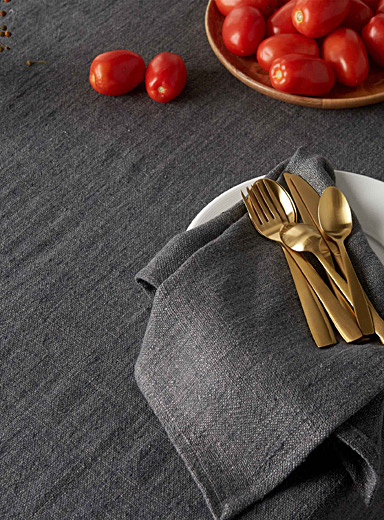 Charcoal grey pure linen tablecloth