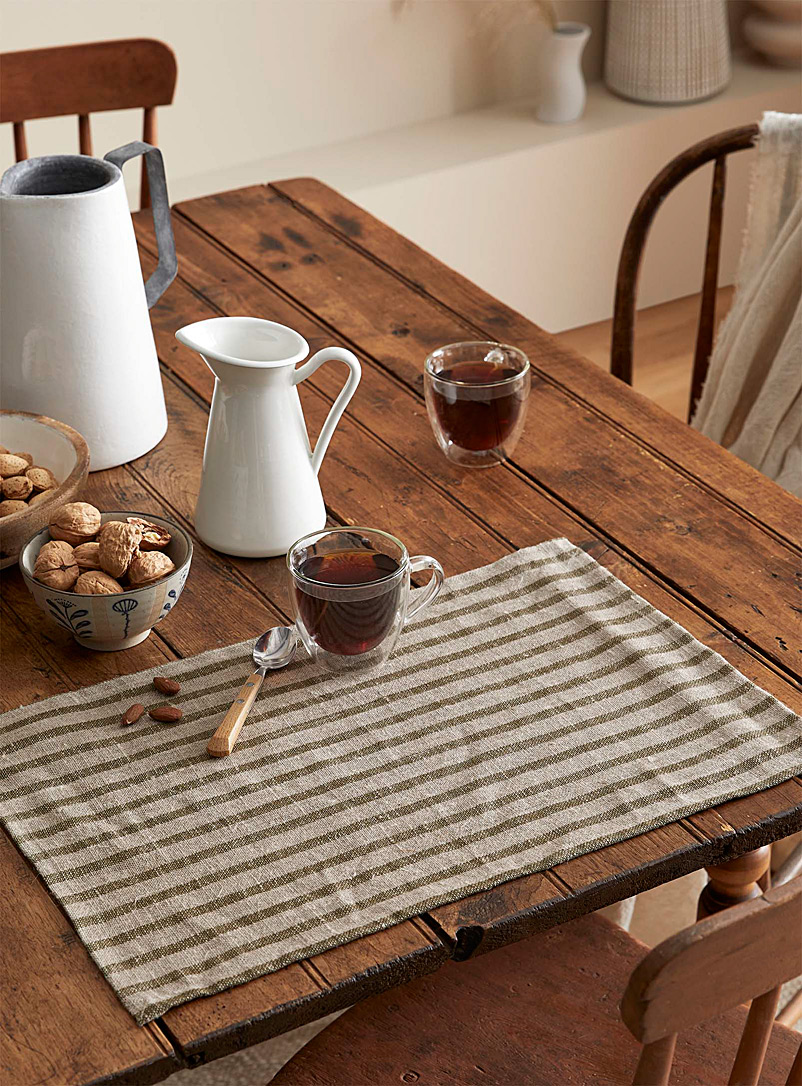 Simons Maison Patterned Green Rustic stripe placemat