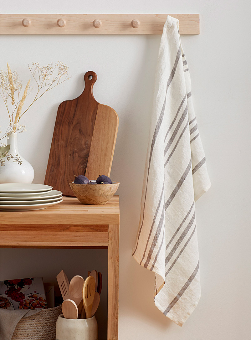 Pure linen striped tea towel - Kitchen Linens - Assorted