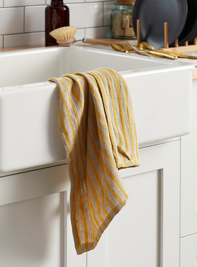 Yellow stripe pure linen tea towel