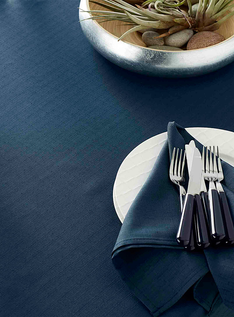 Faux-linen tablecloth    All sizes - Chic solids - Marine Blue