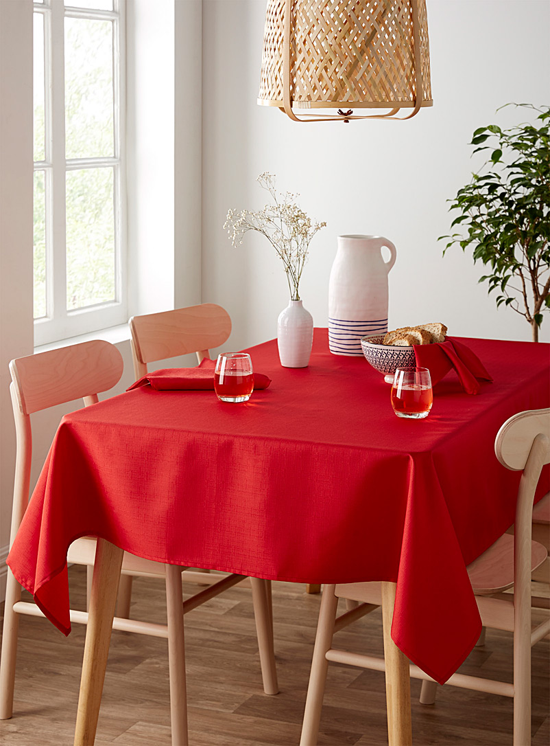 Faux-linen tablecloth    All sizes - Chic solids - Bright Red