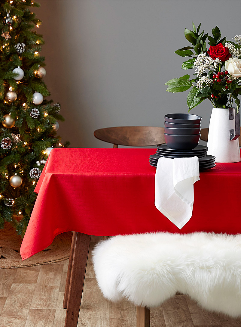 Faux-linen tablecloth  All sizes - Solid - Bright Red