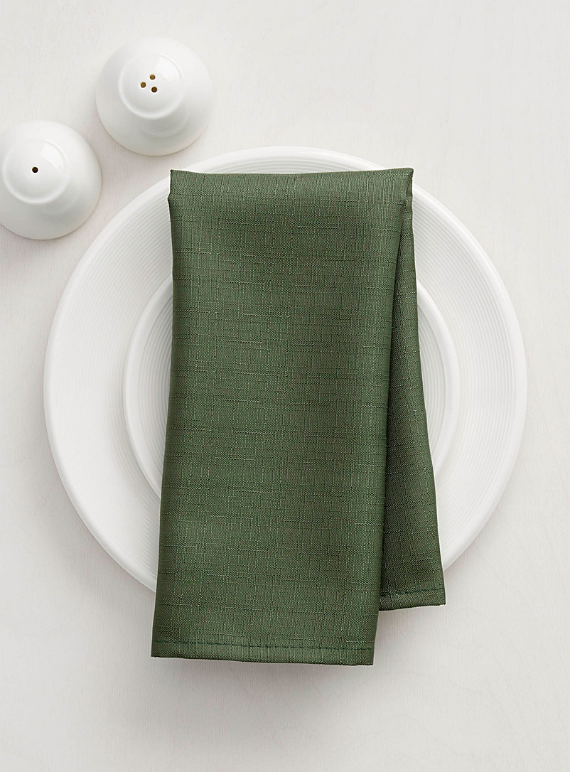 Autumnal faux-linen napkin - Fabric - Mossy Green