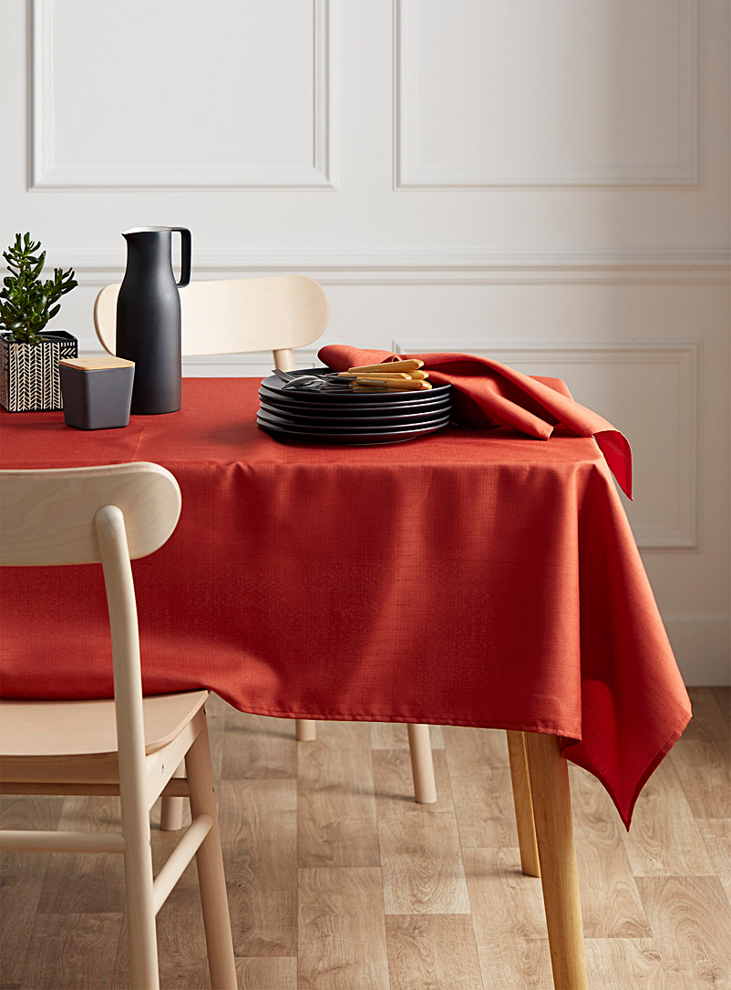 Autumnal faux-linen tablecloth    All sizes - Solid - Dark Orange