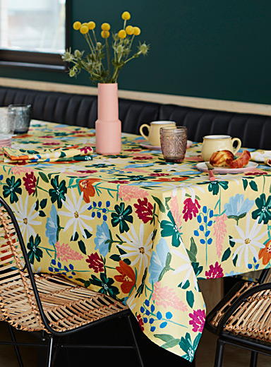 Painted flower tablecloth