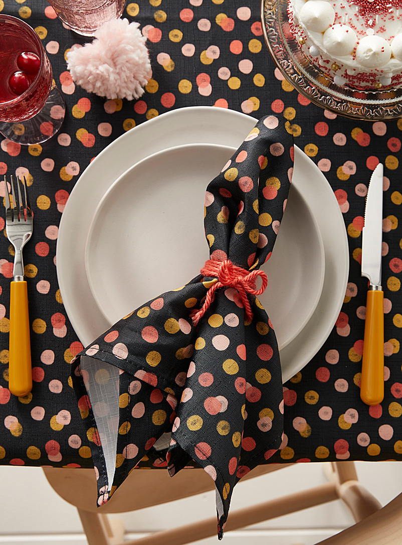 Simons Maison Patterned Black Candy-coloured dot napkin