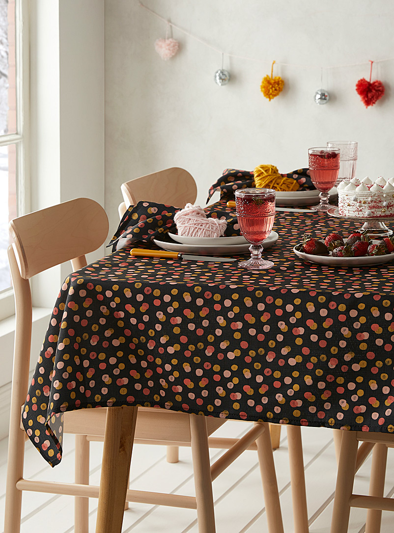 Simons Maison Patterned Black Candy-coloured dot tablecloth