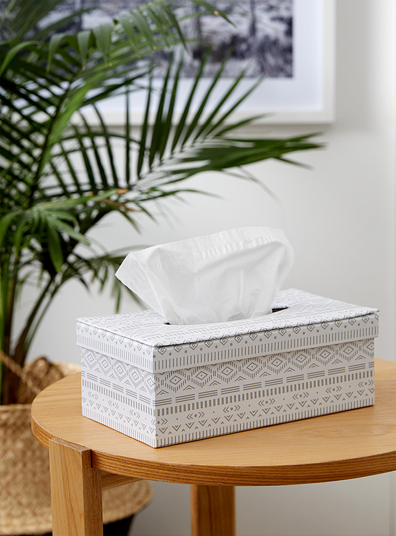 Simons Maison Patterned White Geo pattern tissue box