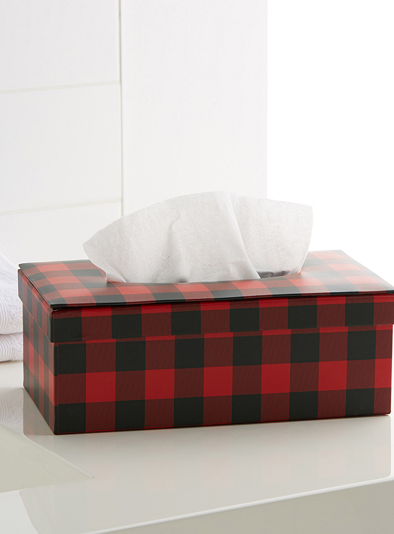 Hunter check tissue box - Accessories & Wastebaskets - Red