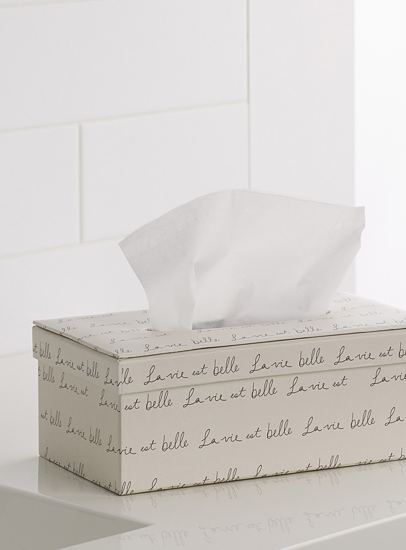 La vie est belle tissue box - Accessories & Wastebaskets - Ivory White