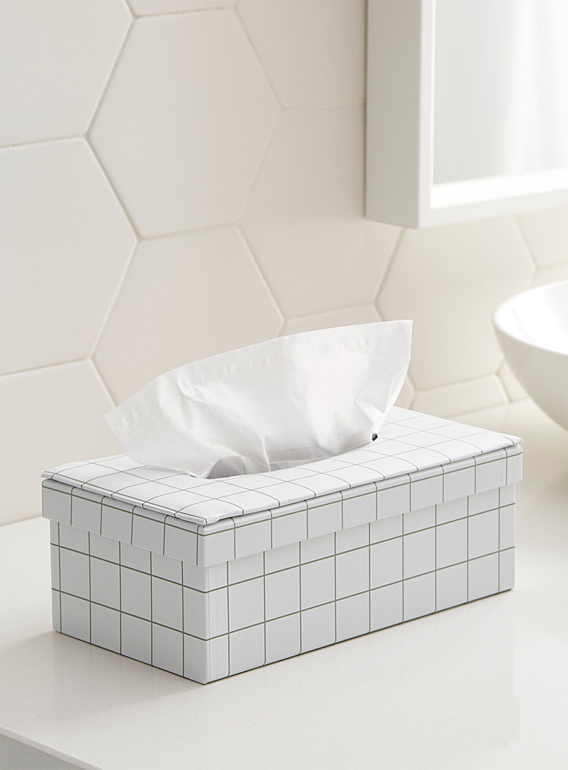 Organic check tissue box - Accessories & Wastebaskets - Patterned White