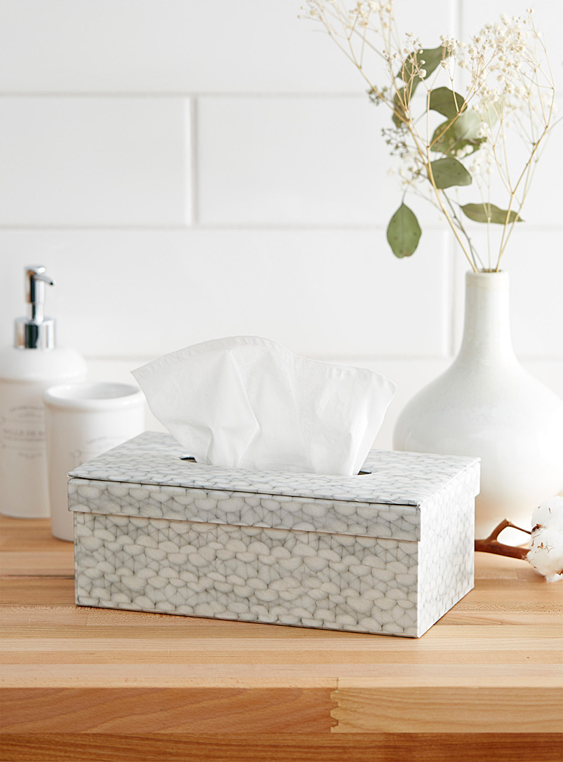 Knit printed tissue box - Accessories & Wastebaskets - Patterned Grey