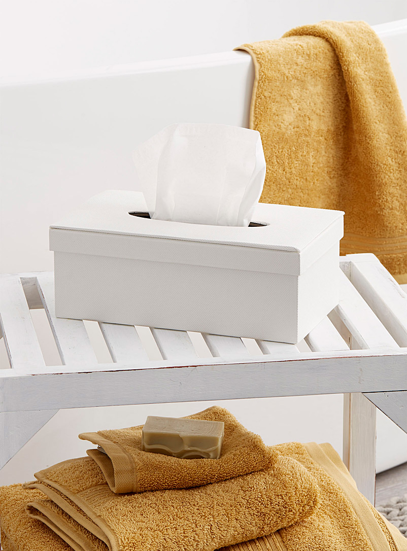 Simons Maison White Textured ivory tissue box