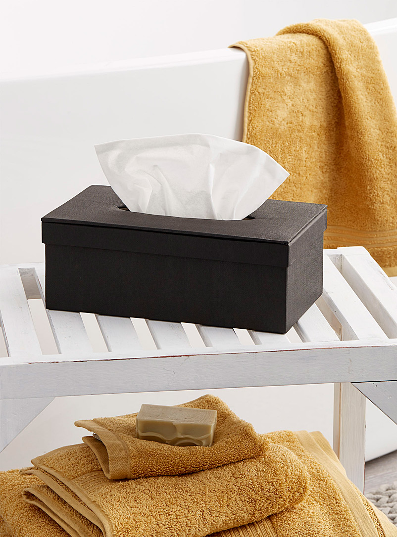 Textured black tissue box