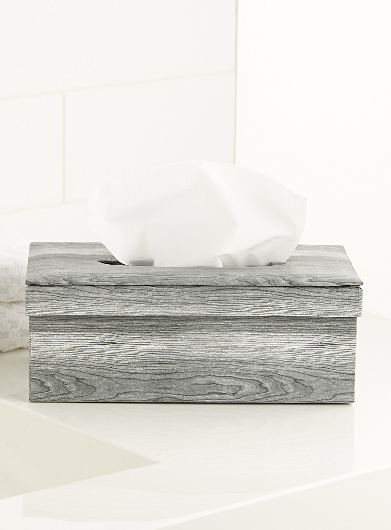 Faux wood-print tissue box
