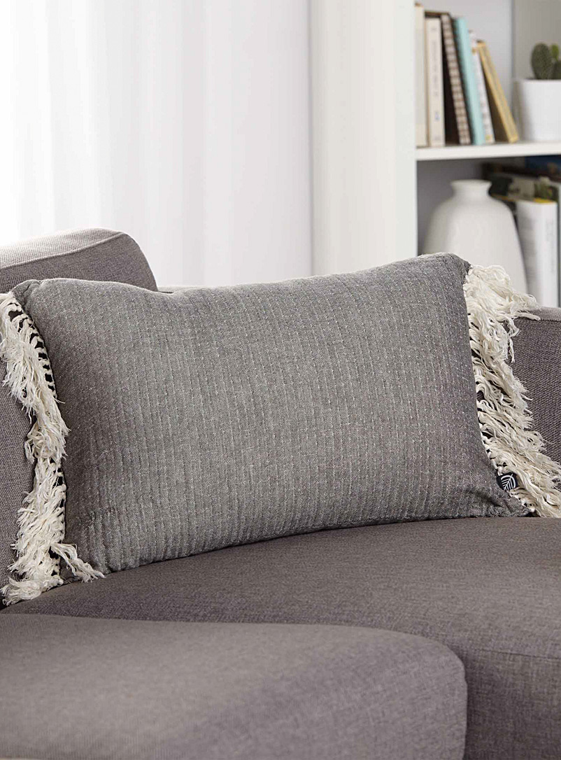 Simons Maison Dark Grey Vintage crinkled cushion  40 x 60 cm