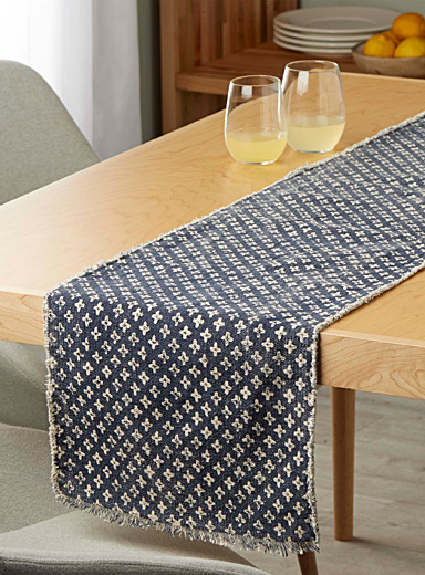 Indigo cross table runner  35 x 180 cm