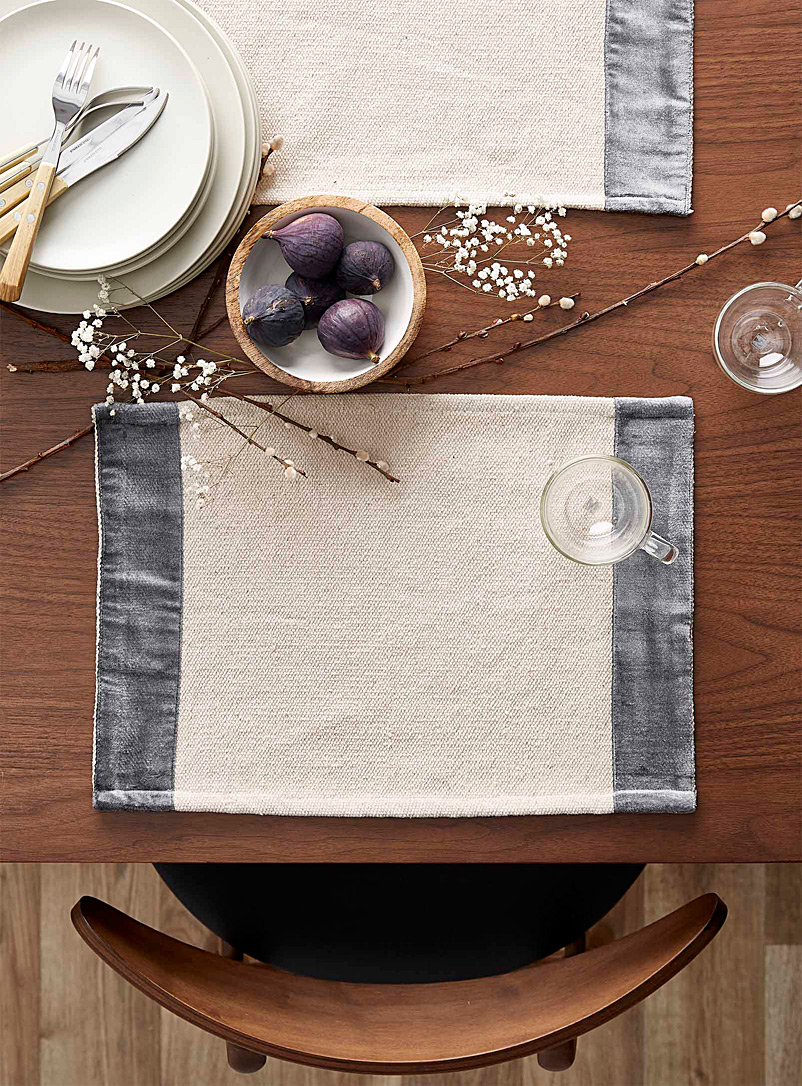 Grey velvet trim woven placemat - Fabric - Grey