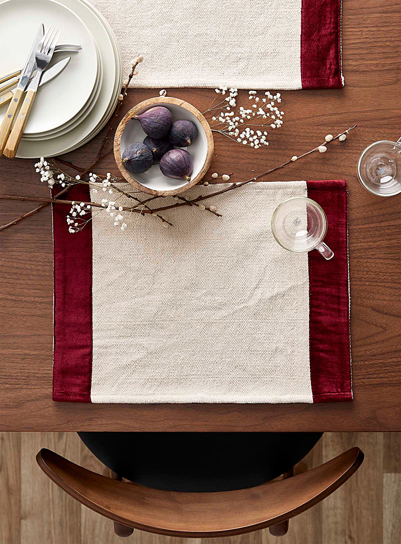 Red velvet trim woven placemat - Fabric - Red