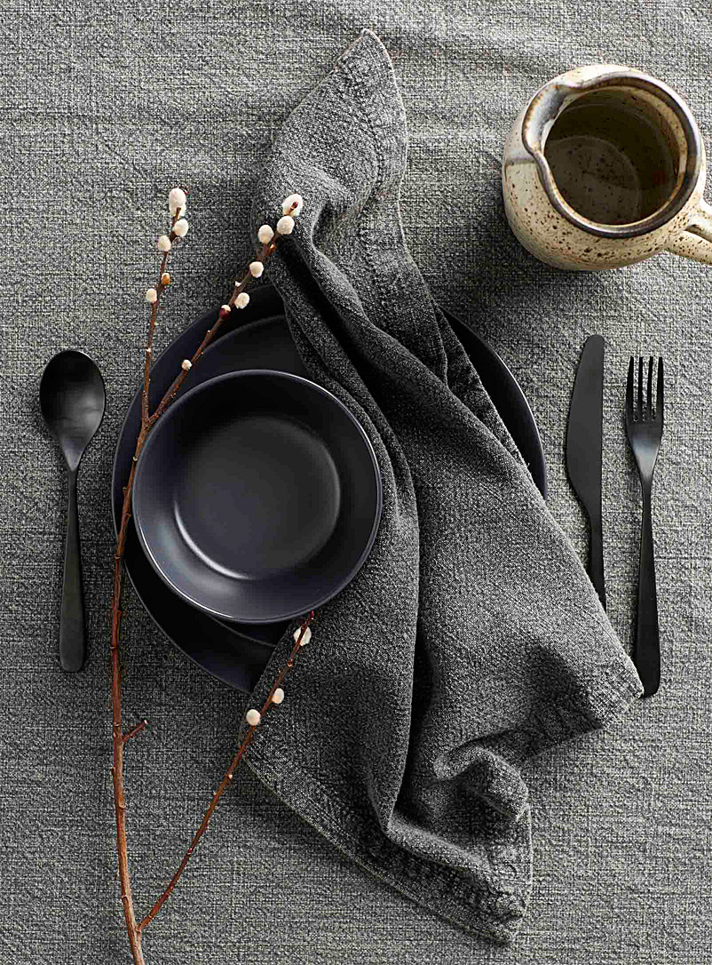 Washed-cotton napkin - Fabric - Dark Grey
