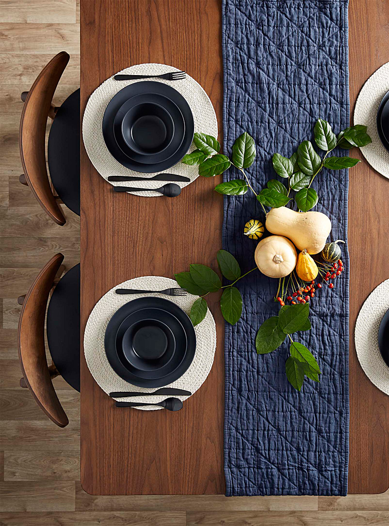 Quilt-like table runner  35 x 180 cm - Centerpieces & Table Runners - Marine Blue