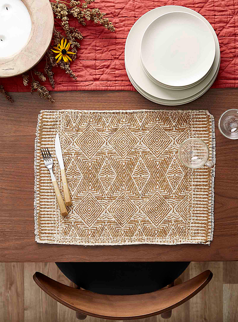 Simons Maison Dark Yellow Organic diamond woven placemat