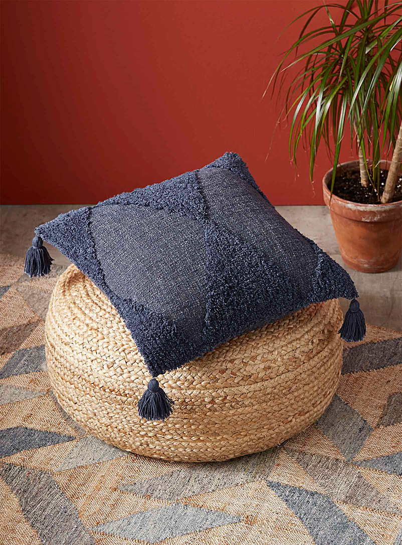 Simons Maison Marine Blue Raw knit cushion  50 x 50 cm