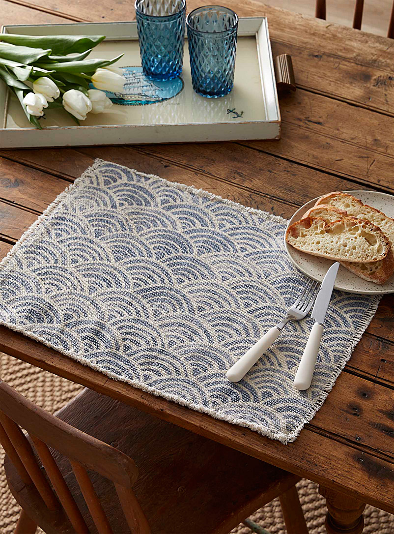 Simons Maison Patterned Blue Placemat with abstract wave designs