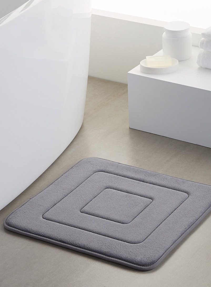 Concentric squares bath mat  50 x 50 cm - Bath Rugs - Dark Grey