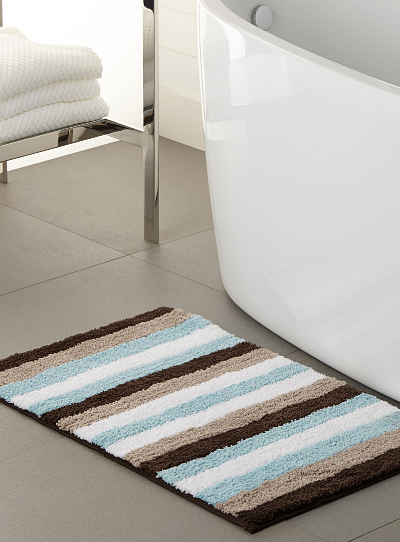 Simons Maison Assorted Aqua stripe bath mat  50 x 80 cm