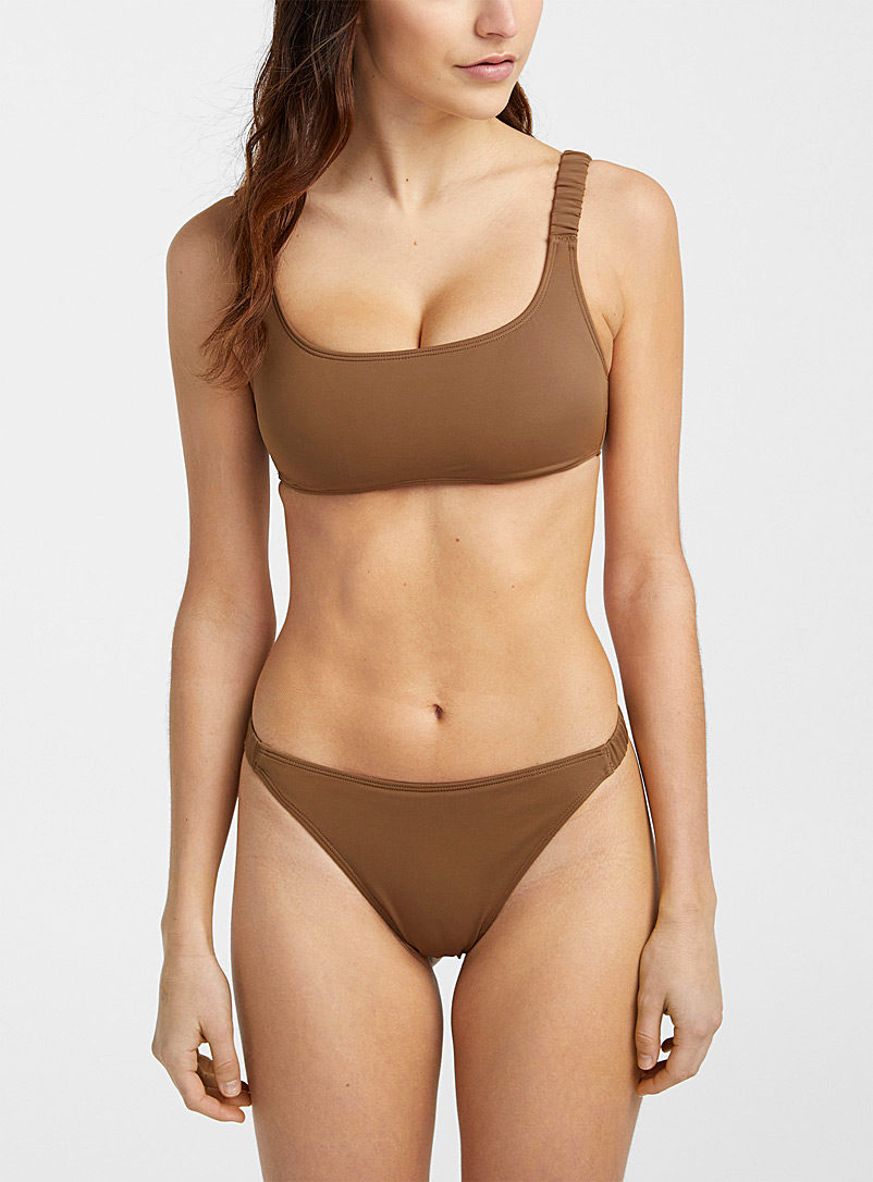 Simons Amber Bronze Bungee elastic strap bralette top for women