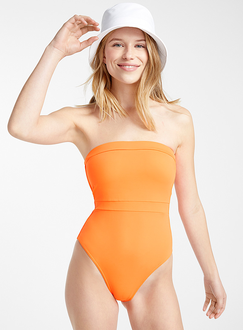 Simons Orange High contrast bandeau one-piece for women