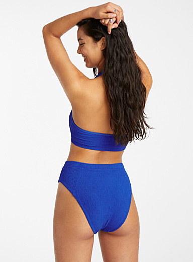 Simons Blue Embossed high-cut slim bikini bottom for women