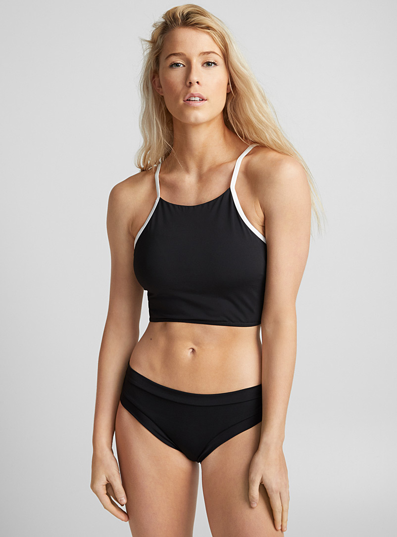Delicate high-neck top - Crop top - Black