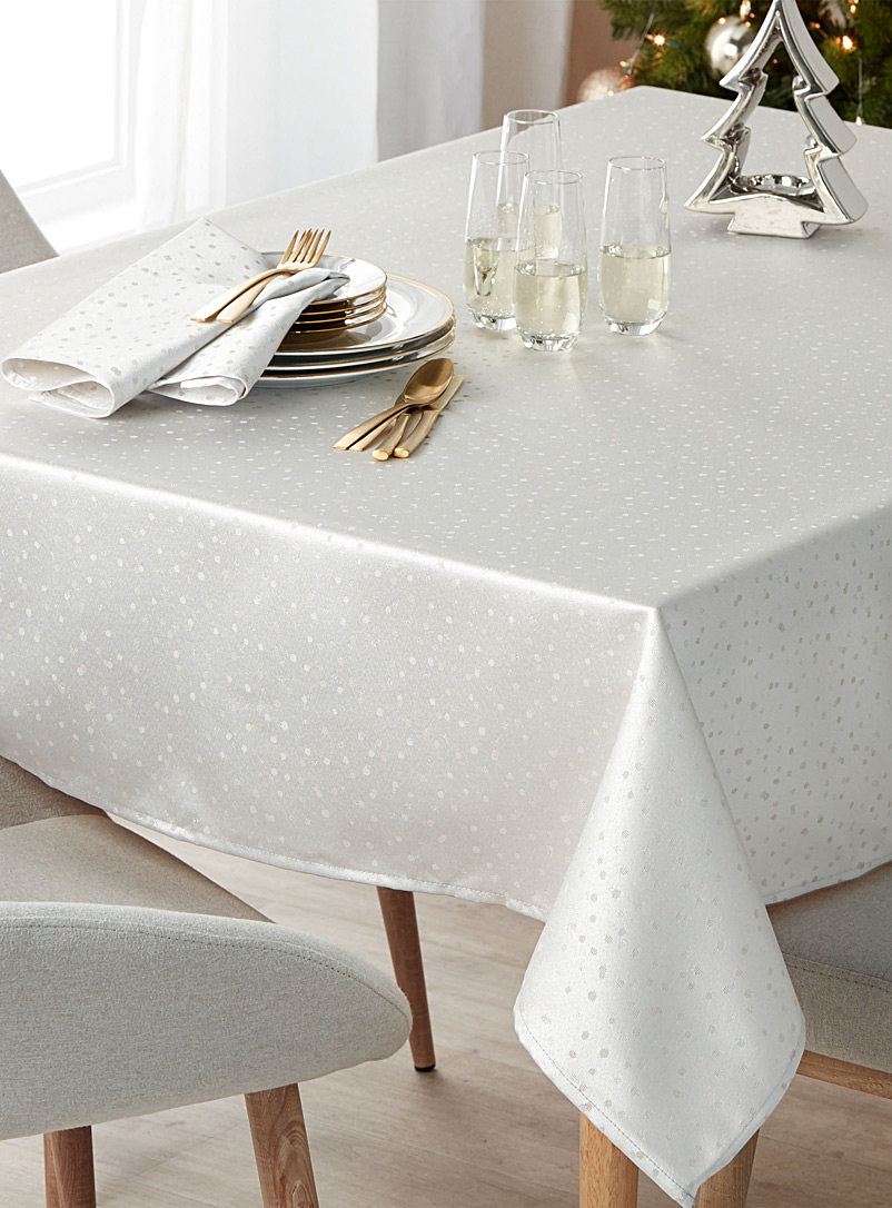 Shimmery polka dot tablecloth - Embroidered - Silver