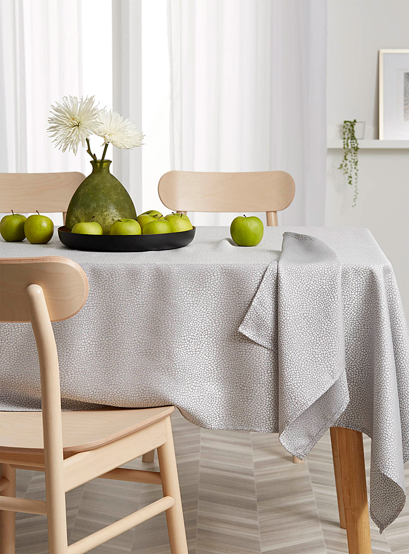 Simons Maison Light Grey Terrazzo sheen jacquard tablecloth