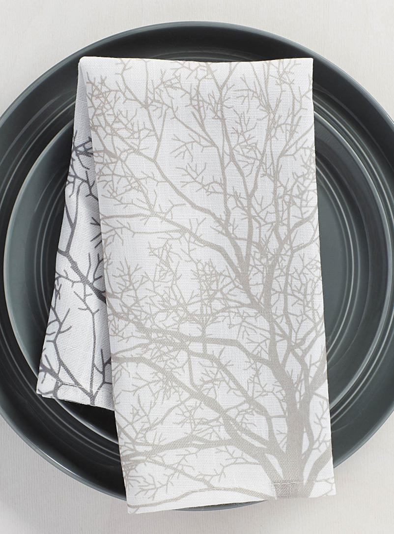 Simons Maison Patterned White Minimalist trees napkin