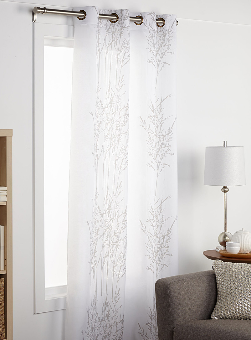Minimalist branches curtain  140 x 220 cm - Sheer - White