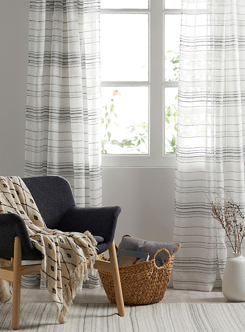 Simons Maison Assorted Natural tones stripe sheer curtain  140 x 220 cm