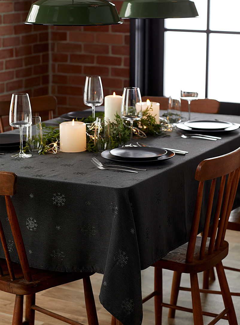 Simons Maison Charcoal Magical night jacquard tablecloth