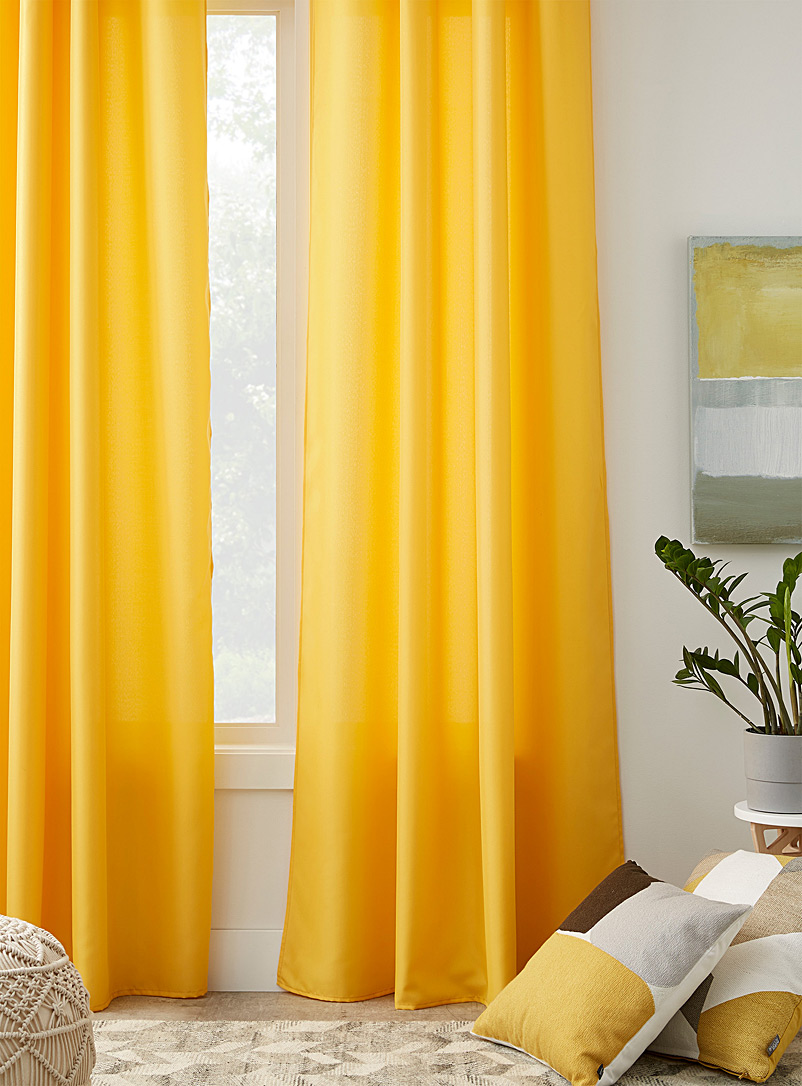 Shiny weave curtain  135 x 220 cm - Solid - Medium Yellow