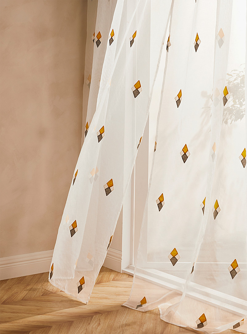Simons Maison Patterned Yellow Tricolour diamond sheer curtain  137 x 218 cm