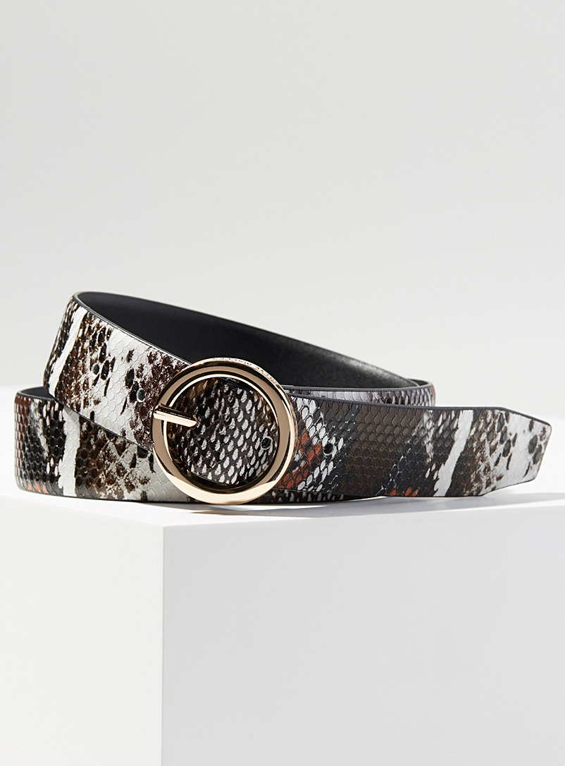 Steve Madden Patterned Brown Snakeskin-like belt for women