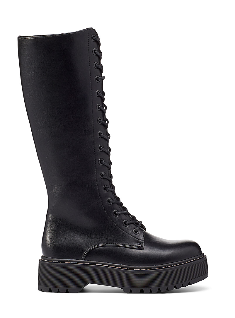Steve Madden Black Bonniee knee-high lace-up boot for women