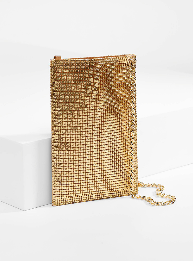 Steve Madden Golden Yellow Sparkly rhinestone clutch for women