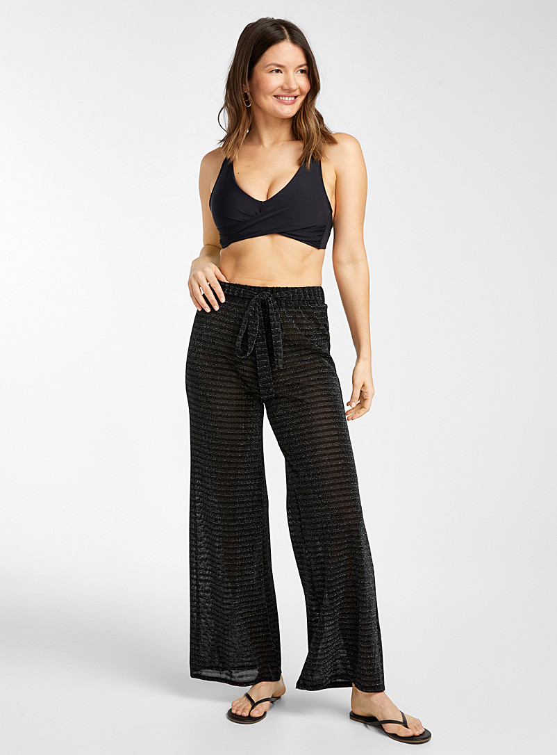 Everyday Sunday Black Metallic stripe sheer pant for women